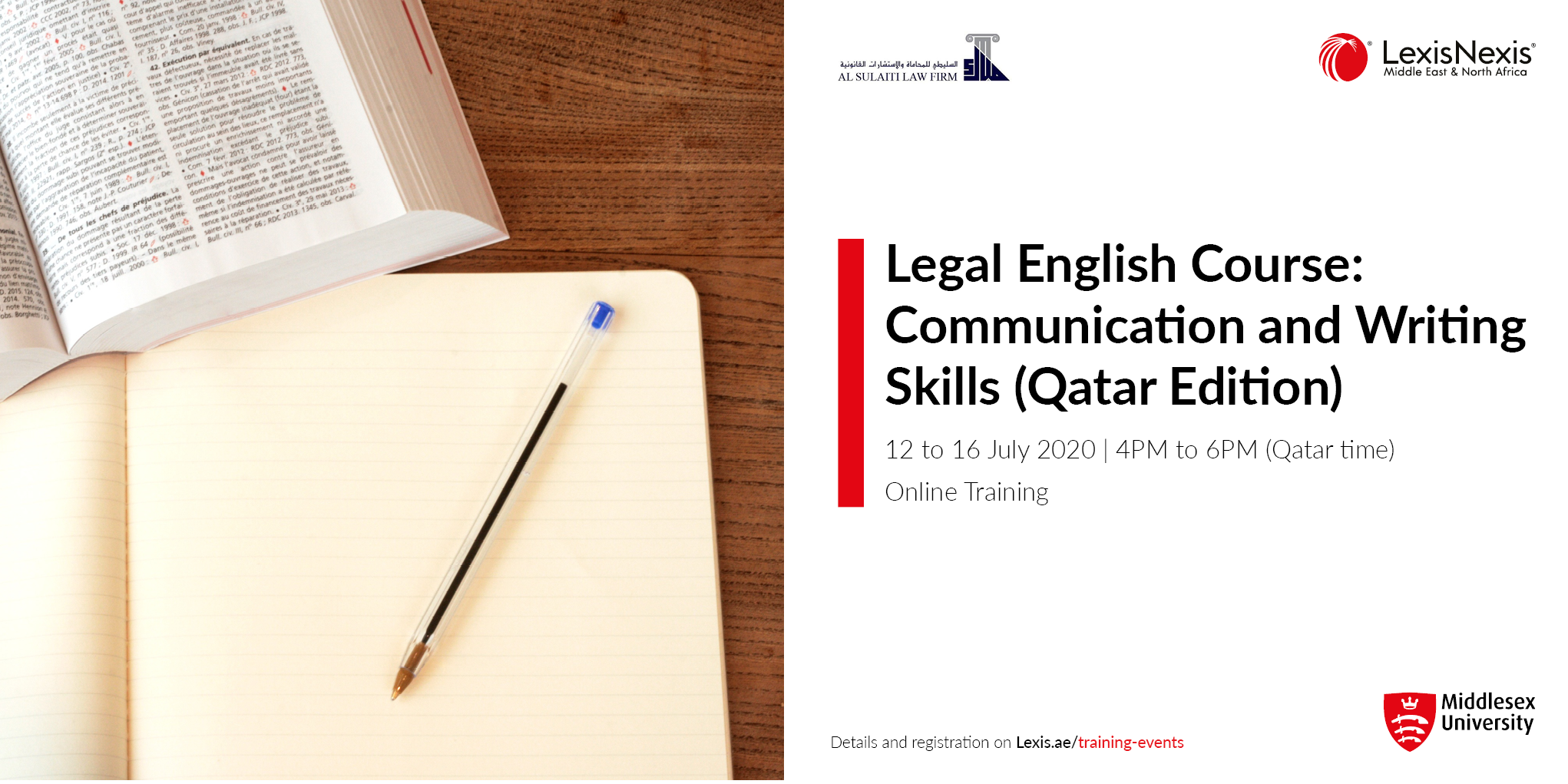 LEGAL ENGLISH COURSE: Communication and writing skills – QATAR Edition | 14 to 18 June 2020, Online Training